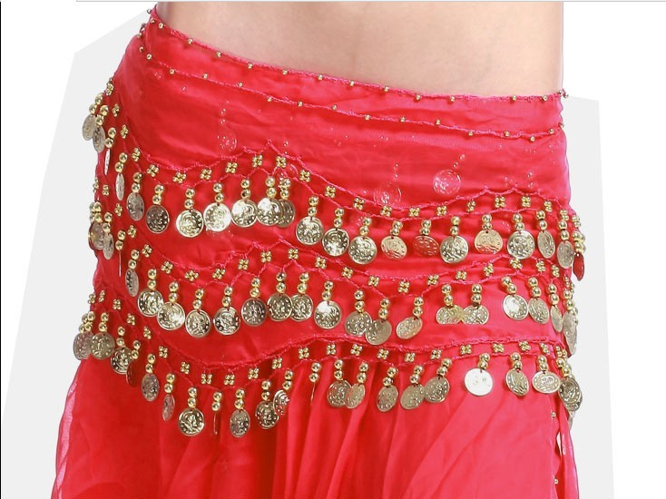 2013 Belly Dance Hip Skirt Scarf Wrap Shining Coins Belt RED